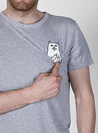 Мужская футболка с котом в кармане FuckOff-Cat