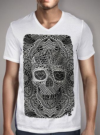 Мужская футболка с V-образным вырезом Lace Skull