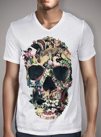 Мужская футболка с V-образным вырезом Vintage Skull
