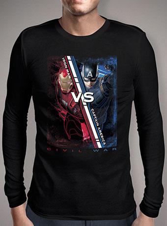 Мужская футболка с длинным рукавом Iron Man vs Captain America