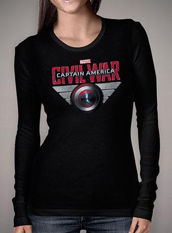 Женская футболка с длинным рукавом Captain America Civil War Shield