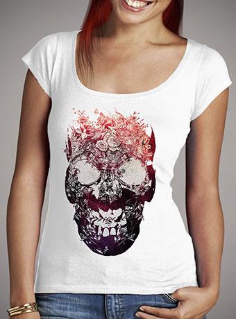 Женская футболка с глубоким вырезом Floral Skull