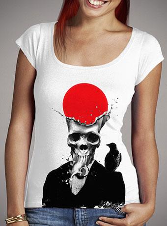 Женская футболка с глубоким вырезом Splash Skull