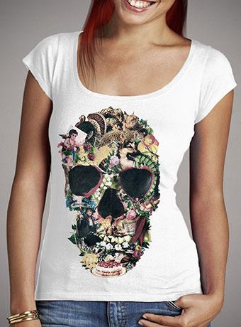 Женская футболка с глубоким вырезом Vintage Skull