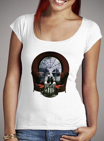 Женская футболка с глубоким вырезом Room Skull