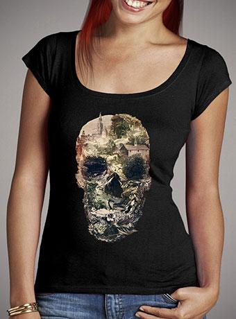 Женская футболка с глубоким вырезом Skull Town
