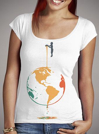 Женская футболка с глубоким вырезом Fill Your World With Colors