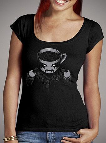 Женская футболка с глубоким вырезом Black Metal Coffee
