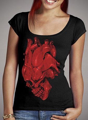 Женская футболка с глубоким вырезом Skull of Heart