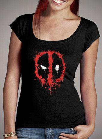 Женская футболка с глубоким вырезом Deadpool Splatter