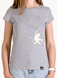 Женская футболка с висящим котом Fallin FuckOff-Cat