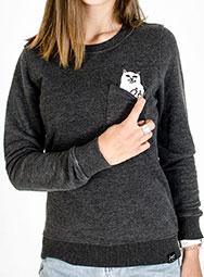 Женский свитшот с котом в кармане FuckOff-Cat тёмный